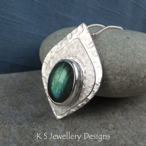 Labradorite Double Textured Sterling Silver Drop Pendant