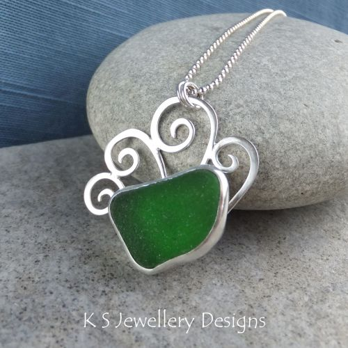 Green Sea Glass Sterling Silver Waves Pendant