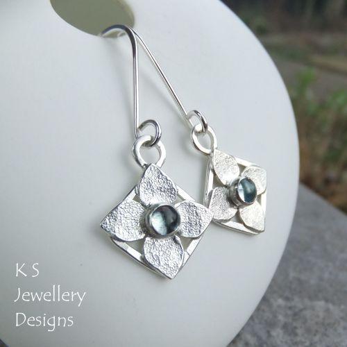 Sky Blue Topaz Four Petal Flowers - Sterling Silver Dangly Gemstone Earring