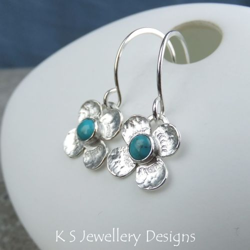 Turquoise Four Petal Flowers - Sterling Silver Dangly Gemstone Earrings