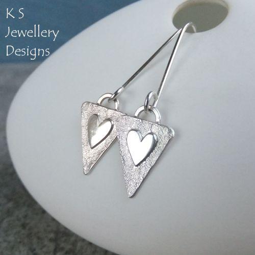Heart Triangle Drop Sterling Silver Earrings