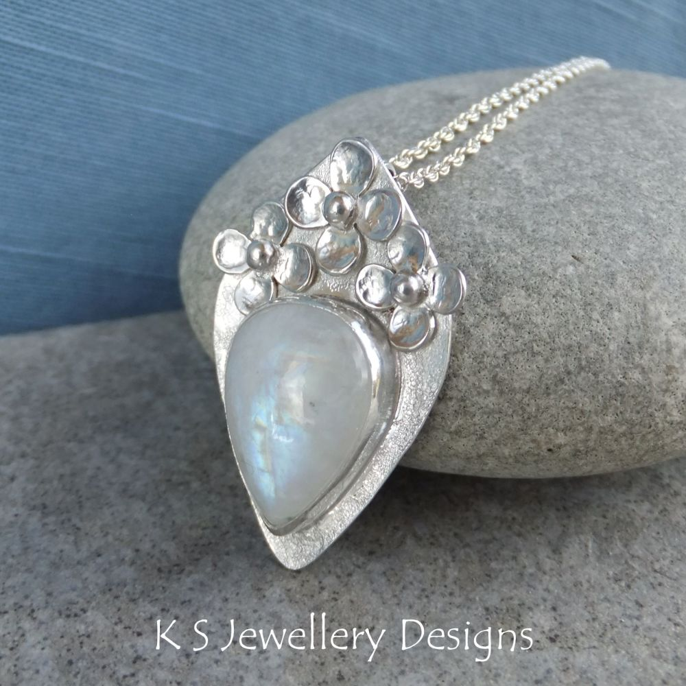 Rainbow Moonstone Flower Adorned Sterling Silver Drop Pendant
