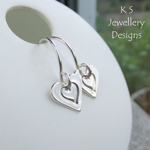 Little Hearts - Stamped Heart Sterling Silver Earrings