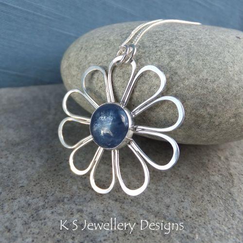 Kyanite Daisy - Sterling Silver Flower Pendant