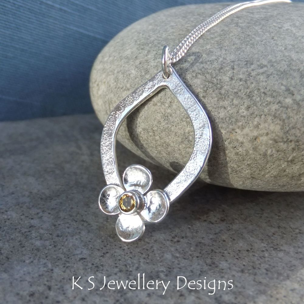 Citrine Flower and Textured Drop Sterling Silver Pendant