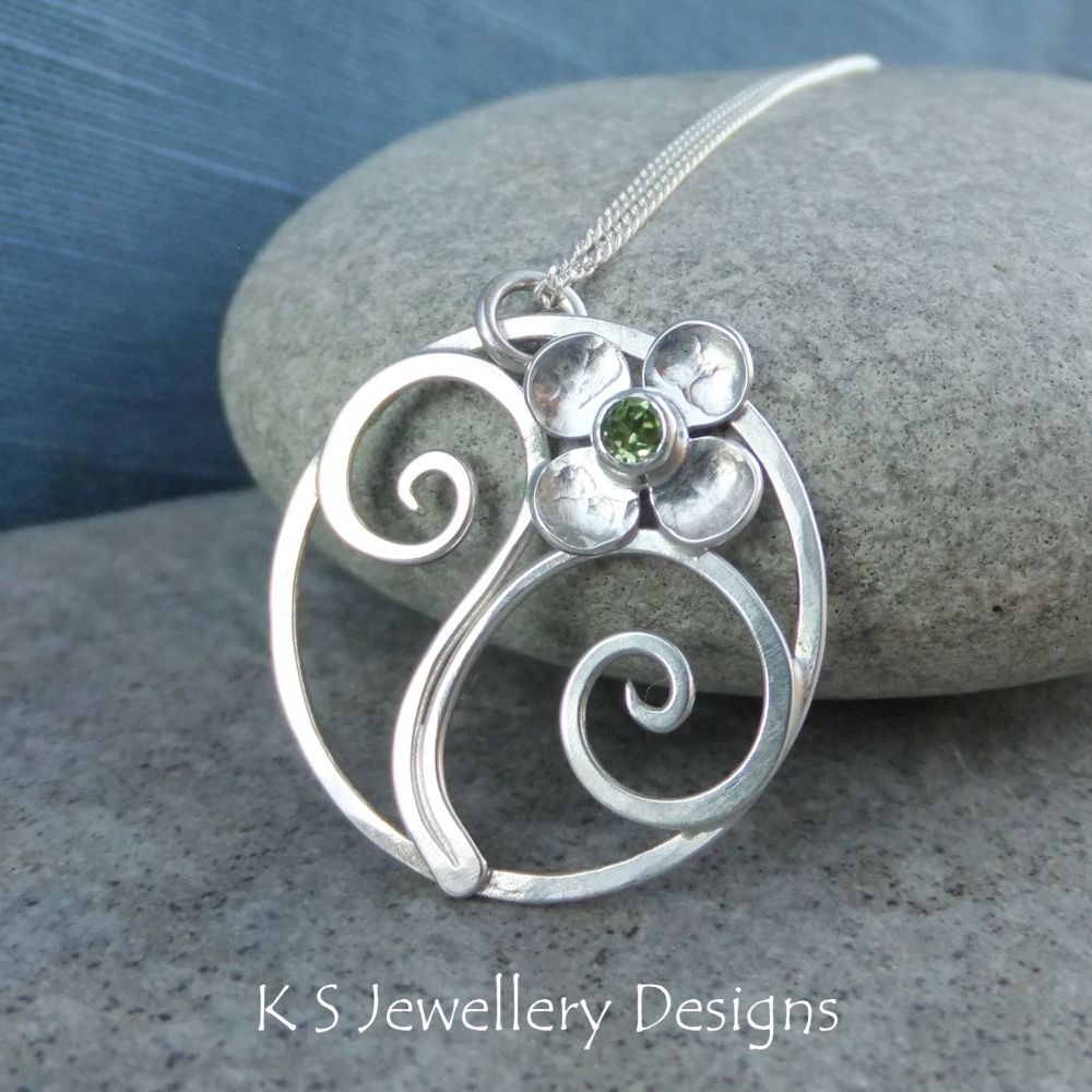 Peridot Flower and Swirls Sterling Silver Circle Pendant