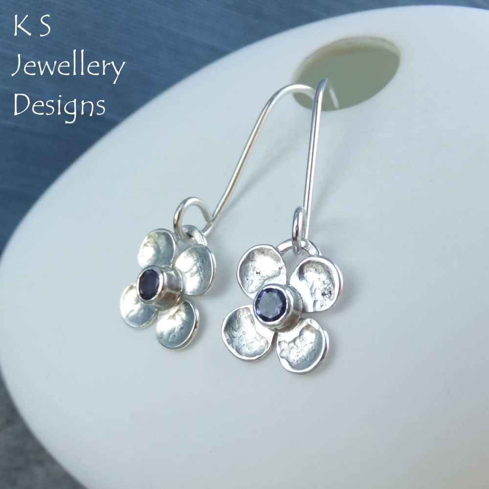 Iolite Four Petal Flowers - Sterling Silver Dangly Gemstone Flower Earrings