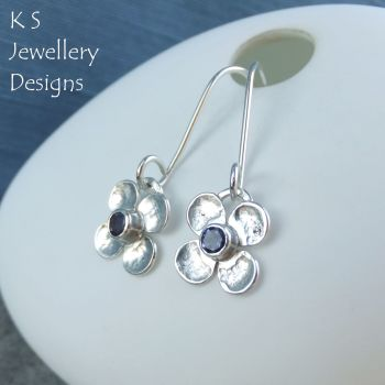 *SALE was £48* Iolite Four Petal Flowers - Sterling Silver Dangly Gemstone Flower Earrings