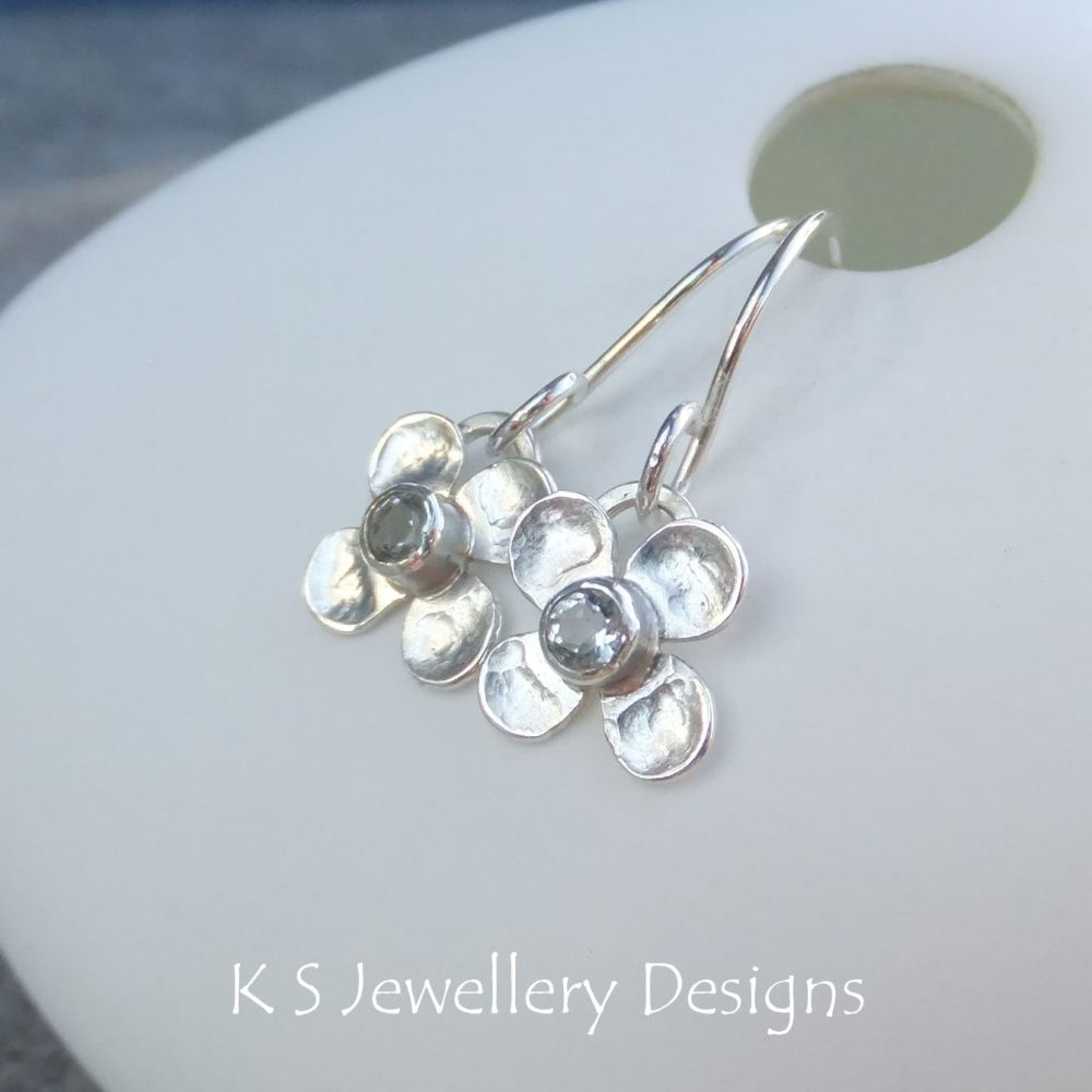 Green Amethyst Four Petal Flowers - Sterling Silver Gemstone Flower Earrings
