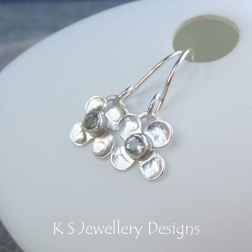 Green Amethyst Four Petal Flowers - Sterling Silver Gemstone Flower Earring