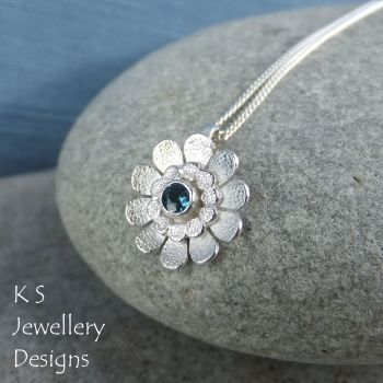London Blue Topaz Little Daisy Sterling Silver Pendant