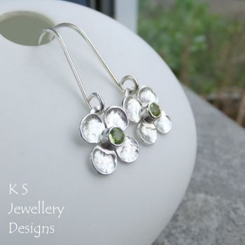 Peridot Four Petal Flowers - Sterling Silver Dangly Gemstone Flower Earrings