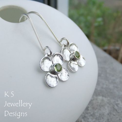 Peridot Four Petal Flowers - Sterling Silver Dangly Gemstone Flower Earring