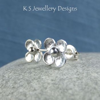 Four Petal Flowers - Sterling Silver Stud Earrings
