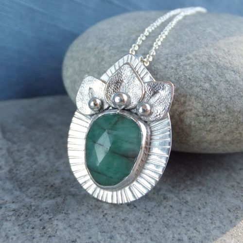 Natural Emerald Petal Adorned Sterling Silver Drop Pendant