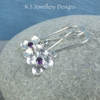 Amethyst Four Petal Flowers - Sterling Silver Dangly Gemstone Flower Earrings