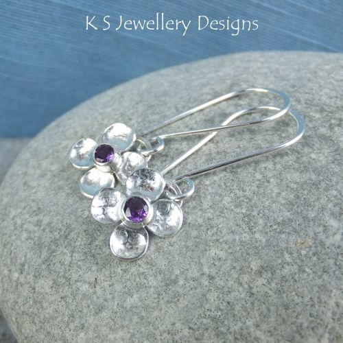 Amethyst Four Petal Flowers - Sterling Silver Dangly Gemstone Flower Earrin