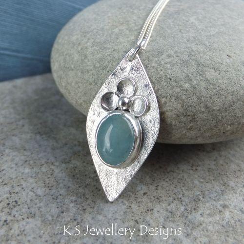 Natural Aquamarine Blossom Adorned Sterling Silver Drop Pendant