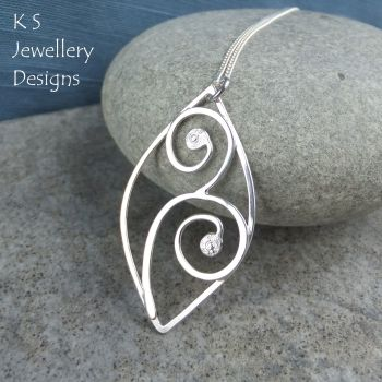 Leaf and Swirls Sterling Silver Wire Pendant