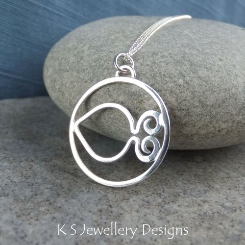 Little Fish - Sterling Silver Circle Pendant