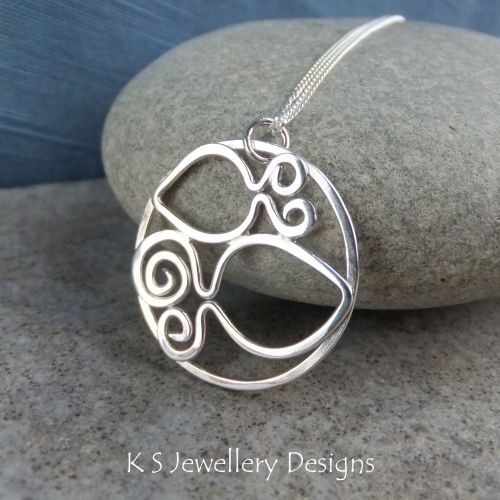 Two Fishes - Sterling Silver Swirl Circle Pendant - Pisces