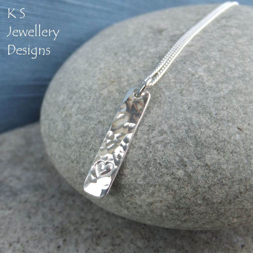 Little Heart & Dappled Textured Sterling Silver Bar Pendant