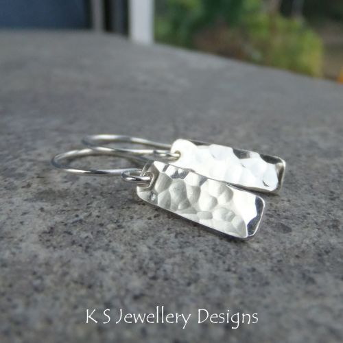 Dappled Textured Sterling Silver Bar Earrings (made to order)