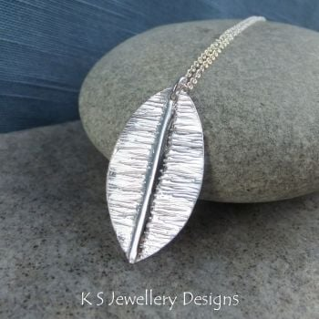 Textured Leaf Fold Formed Fine Silver Pendant V2
