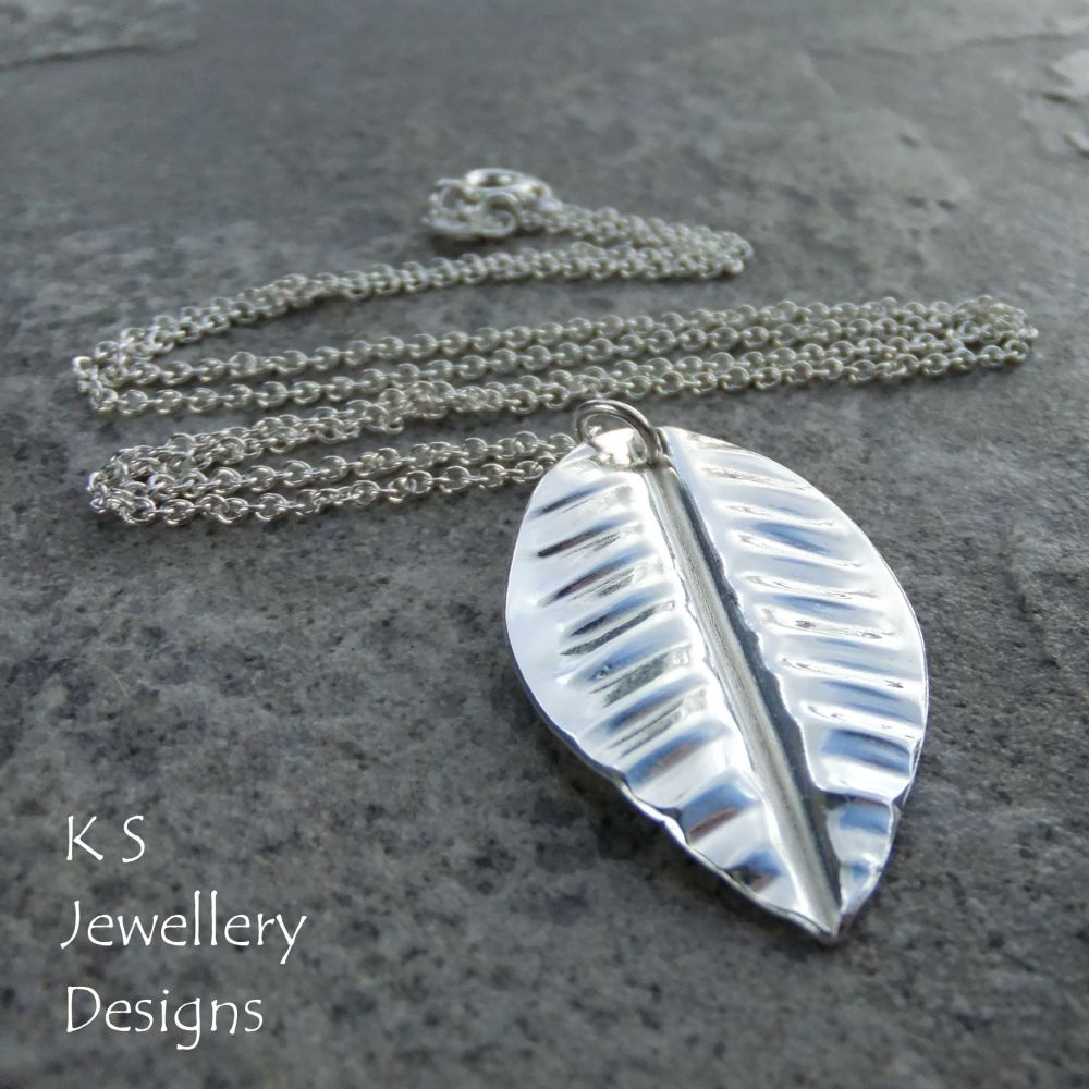 Vein Textured Leaf Fold Formed Fine Silver Pendant