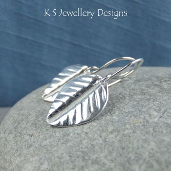 Vein Textured Leaf Fold Formed Fine Silver Earrings