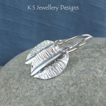 Textured Leaf Fold Formed Fine Silver Earrings