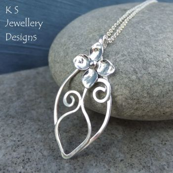 *SALE was £40* Flower and Vase Sterling Silver Leaf Pendant