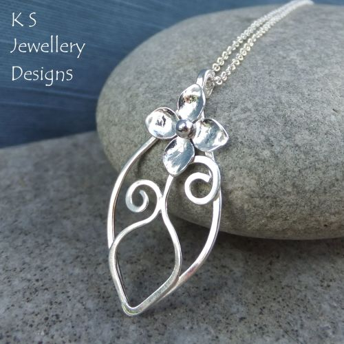 Flower and Vase Sterling Silver Leaf Pendant