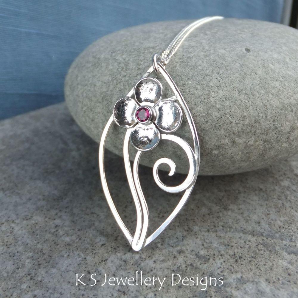 Rhodolite Garnet Flower and Swirls Sterling Silver Leaf Pendant