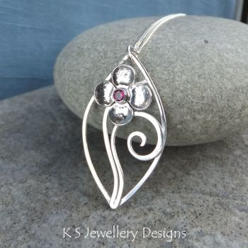 Rhodolite Garnet Flower and Swirls Sterling Silver Leaf Pendant