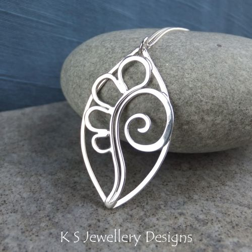 Petals & Swirl Leaf Sterling Silver Wire Pendant