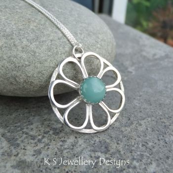 Amazonite Daisy Circle Sterling Silver Pendant