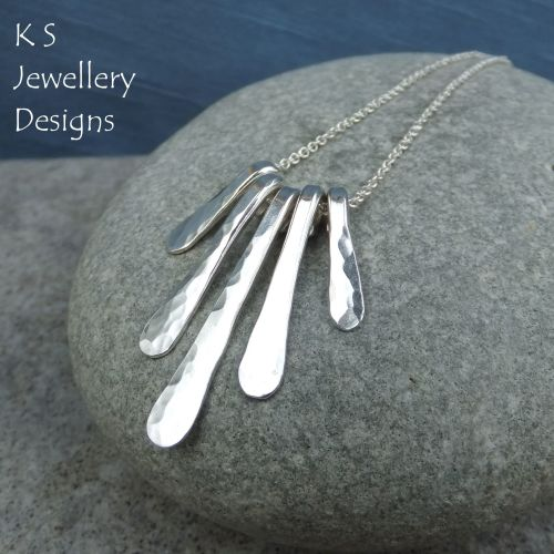 Dapple Textured Drops - Sterling Silver Necklace