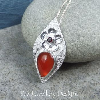 Carnelian & Garnet Flower Adorned Sterling Silver Textured Drop Pendant
