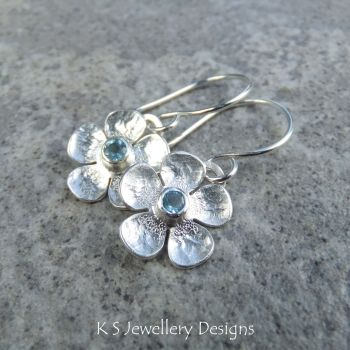 Swiss Blue Topaz Five Petal Flowers - Sterling Silver Dangly Gemstone Flower Earrings