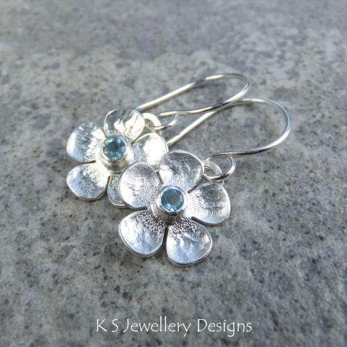 Swiss Blue Topaz Five Petal Flowers - Sterling Silver Dangly Gemstone Flowe