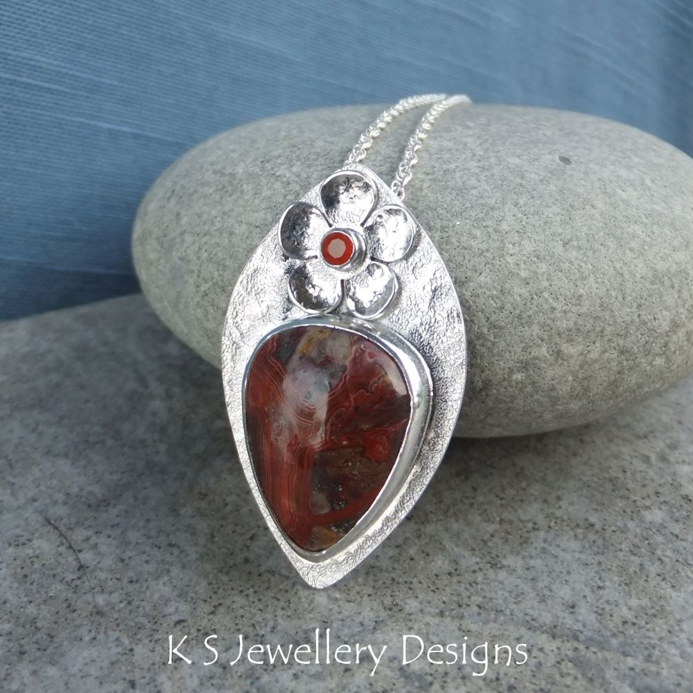 Crazy Lace Agate & Carnelian Flower Adorned Sterling Silver Textured Drop Pendant
