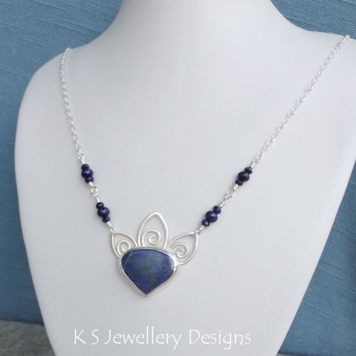 Lapis Lazuli and Wire Swirl Petals Sterling Silver Necklace