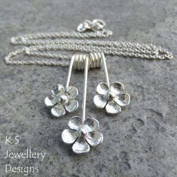 Five Petal Flower Trio Sterling Silver Necklace