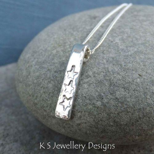 Stars & Dappled Textured Sterling Silver Bar Pendant