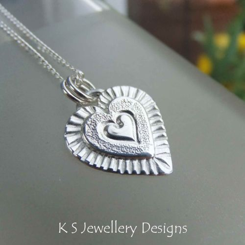 Layered Hearts (version 6) Sterling Silver Pendant