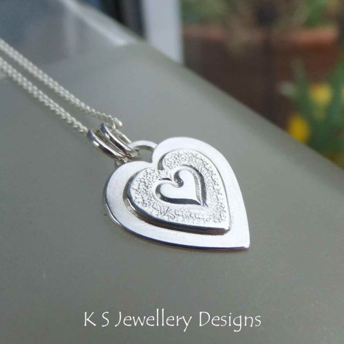 Layered Hearts (version 7) Sterling Silver Pendant