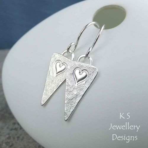 Heart Triangle Drop Sterling Silver Earrings (version 2)