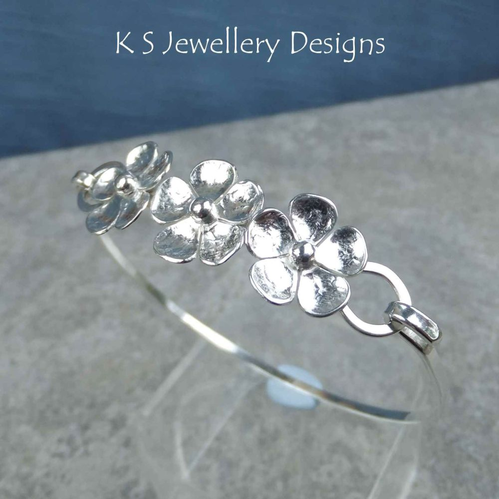 Five Petal Flower Trio Sterling Silver Bangle