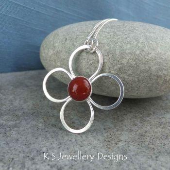 Carnelian Four Petal Sterling Silver Wire Flower Pendant
